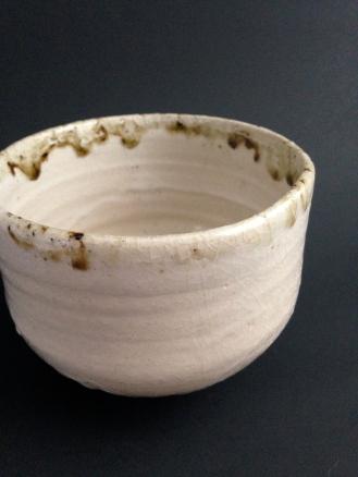 Shino chawan with wood ash.